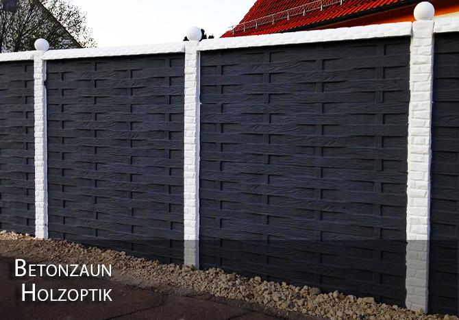 Betonzaun Holzoptik RAL7021-WEISS